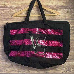 Victoria Secret VS Pink Black Sequined Large Tote